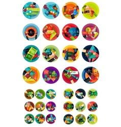 Set of circular flat design infographic concepts vector image