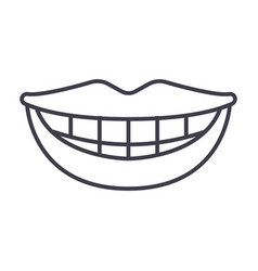 smile teeth mouth line icon sign vector image vector image