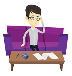 unhappy asian man accounting home bills vector image vector image