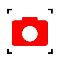 digital camera sign red icon inside black vector image