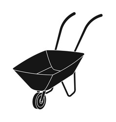 green cart with wheel and handles the means of vector image