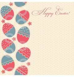 greeting card with different easter eggs vector image vector image