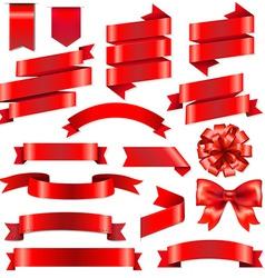 Red Ribbons Big Set vector image vector image