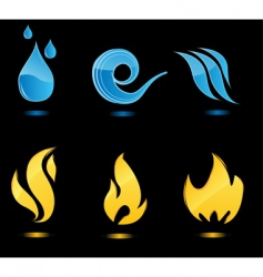 water and fire glossy icons vector image vector image