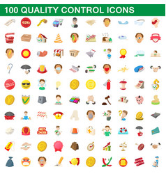 100 quality control icons set cartoon style vector image