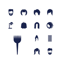 13 hairstyle icons vector