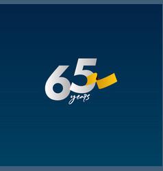 65 years anniversary celebration white blue vector