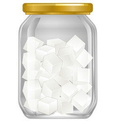 A jar of cube sugar vector