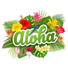 Aloha hawaii lettering and tropical plants vector
