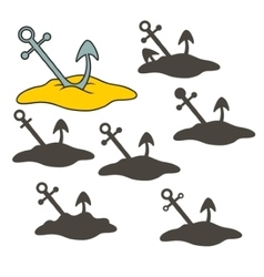 anchor in the sand vector image