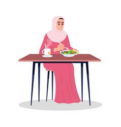 Arab woman eating salad with hot tea semi flat vector