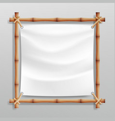 Bamboo frame with white canvas wooden vector