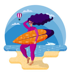 beautiful surfer girl in pink wetsuit holding vector image
