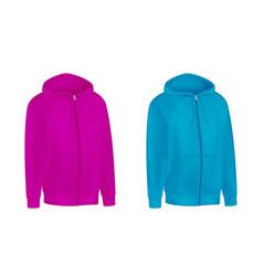 blank pink blue unisex hoodie sweatshirt long vector image