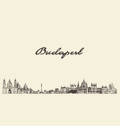 budapest skyline hungary city drawn sketch vector image
