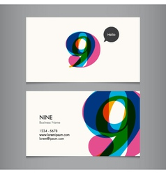 Business card with number 9 vector