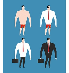 Businessman in business suit and briefcase Set man vector