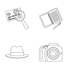Camera magnifier hat notebook with pen vector