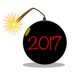 cartoon 2017 new year bomb vector image