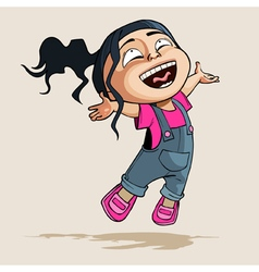 Cartoon enthusiastic little girl joyfully jumps vector