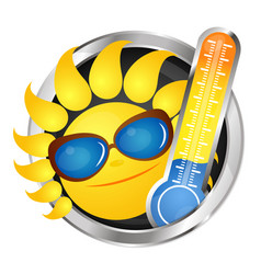 Cheerful sun and thermometer vector