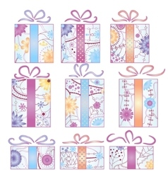 Christmas gifts set gradient isolated vector image vector image