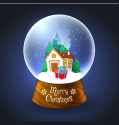 Christmas snowglobe with house vector