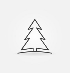 Christmas tree icon in thin line style vector
