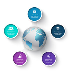 circle elements with earth for infographic vector image