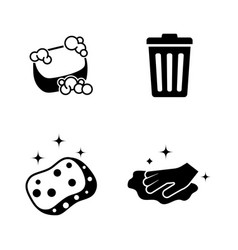 Cleaning simple related icons vector