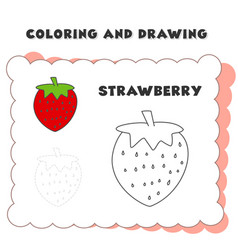 coloring and drawing book element strawberry vector image