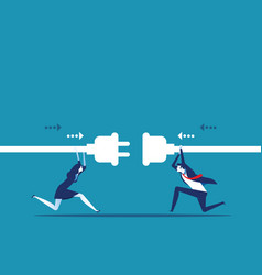 connection business people hold plug and outlet vector image