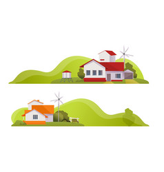 country house rural landscape banner vector image