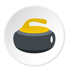 Curling stone with yellow handle icon circle vector