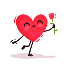 cute humanized heart holding red rose in hand vector image