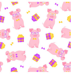 cute pig sits in glasses and a bow tie funny vector image