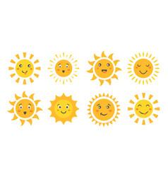 cute sun set cartoon sun emoticon characters vector image