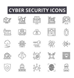 Cyber security line icons for web and mobile vector