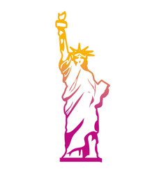 Degraded line statue liberty sculpture history vector