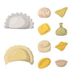 Design dumplings and food sign set of vector