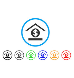 dollar bank rounded icon vector image