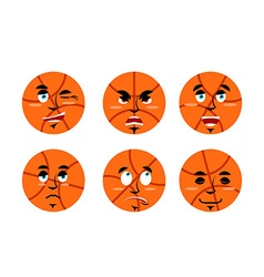 Emotions basketball ball Set expressions avatar vector