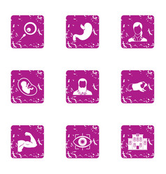 Faculty icons set grunge style vector