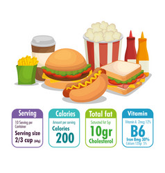 Fast food with nutritional facts vector