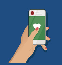 female hand holding a smartphone vector image