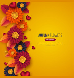 floral autumn background with 3d paper cut style vector image