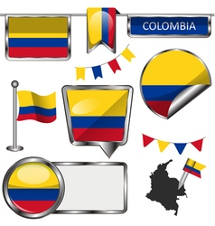 Glossy icons with Colombian flag vector
