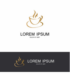 Gold coffe hot abstract logo vector