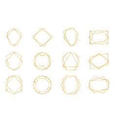 golden geometric frame luxury wedding invitation vector image