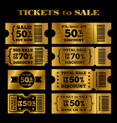 Golden sale tickets set tickets to vector